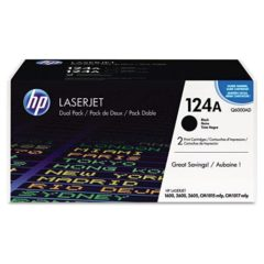 HP 124A, (Q6000A-D) 2-pack Black Original LaserJet Toner Cartridges