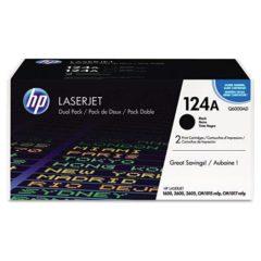 HP 124A, (Q6000A-D) 2-pack Black Original LaserJet Toner Cartridges
